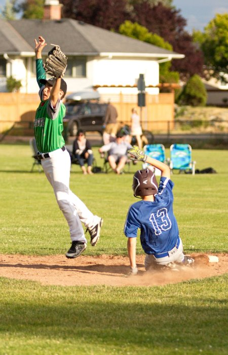 Jumping for a baseball in Victoria BC